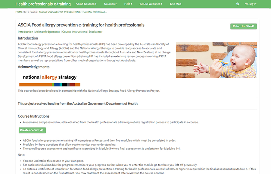 Food allergy prevention e-training for health professionals