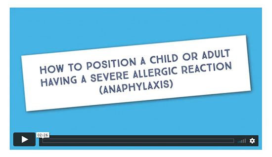How to position a child or an adult having a severe allergic reaction