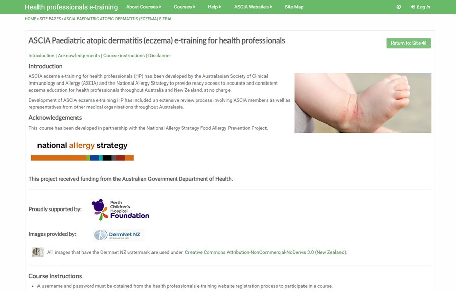 Paediatric atopic dermatitis e-training for health professionals